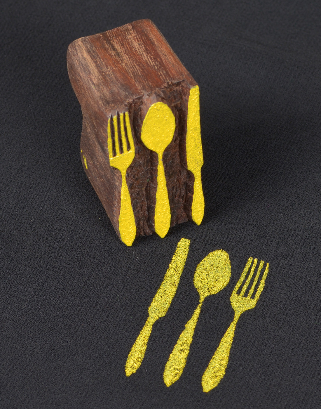 Spoon And Fork Wooden Printing Stamp
